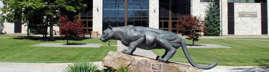 Mountain cat statue on campus